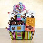 Godiva Rainbow of Treats Gift Basket