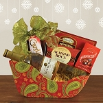 Holiday Sleigh White Wine Gift Basket