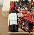 Organic Red Wine and Snacks Gift Basket