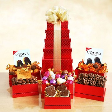 Godiva Valentine Red Tower Gift Basket