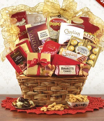 Red and Gold Gourmet Gift Basket