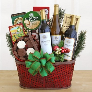 Cabernet, Merlot, and Chardonnay Wine Holiday Gift Basket