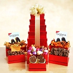 Godiva Red Tower Gift Basket