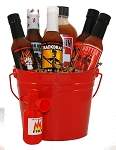 Blazing Bucket of Fire Hot Sauce Gift Basket
