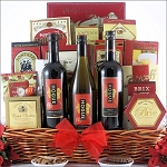 Festive Holidays Trio: Gourmet Holiday Wine Gift Basket