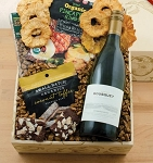 Organic White Wine and Snacks Gift Basket