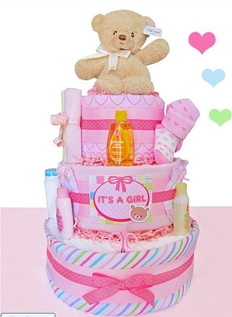 "Baby Gund ""It's A Girl"" Diaper Cake- 3 Tier"