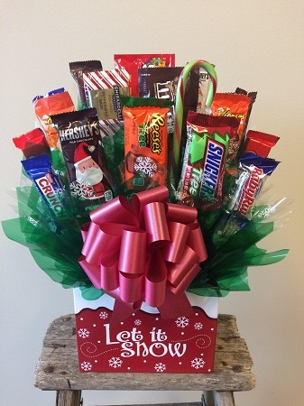 """Let It Snow"" Candy Gift Basket Bouquet"