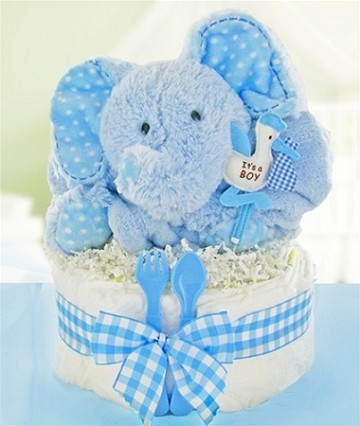 Gingham & Giggles One Tier Diaper Cake-Pink or Blue