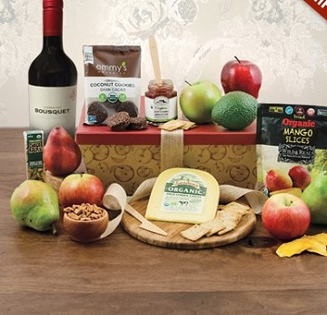 Organic Red Wine and Fruit Gift Basket