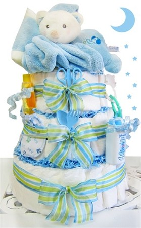 Sleepy Bear 3 Tier Diaper Cake-Boy