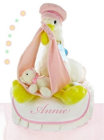 Stork Nest One Tier Diaper Cake-Girl