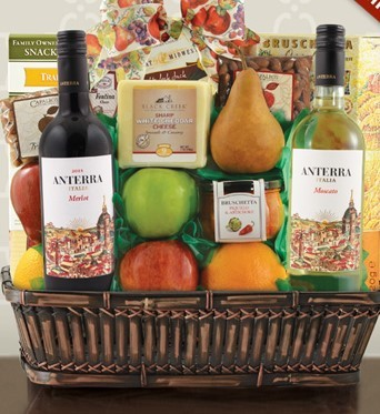 VaBene Italian Wine, Cheese, and Fruit Gift Basket